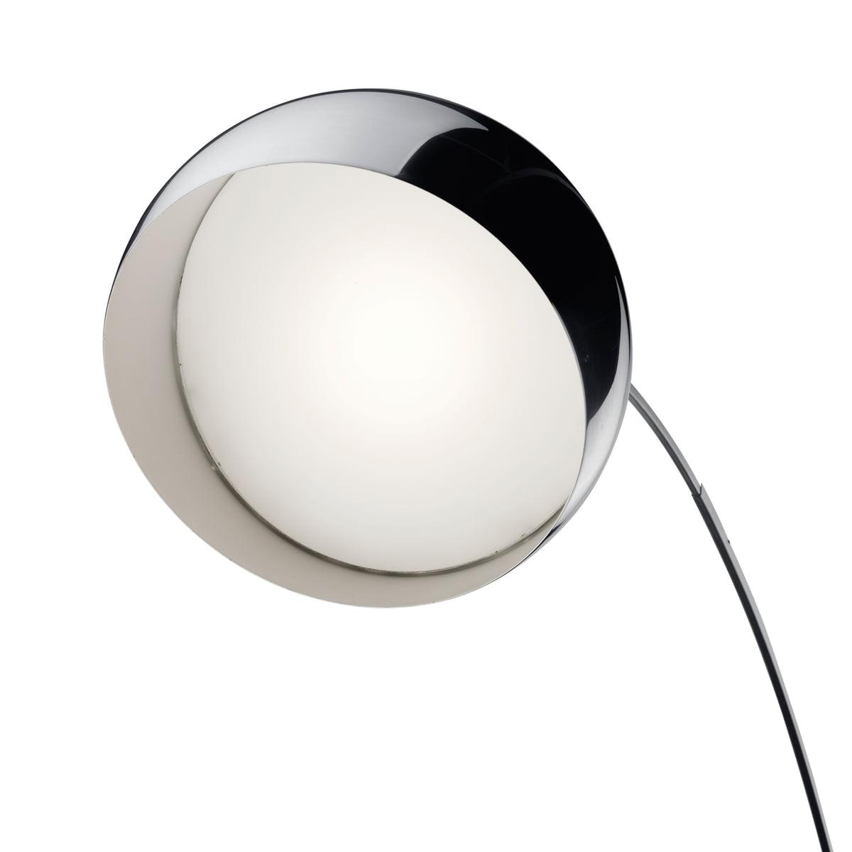 Flos-Arco-LED-Stehleuchte-Edelstahl-Marmor-weiss-detial-Leuchtschirm